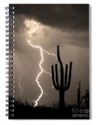 Giant Saguaro Cactus Lightning Strike Sepia  Spiral Notebook