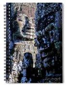 Gigantic Face Statues At Khmer Temple Angkor Wat Ruins Cambodi Spiral Notebook