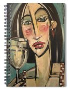 Gingham Girl With Wineglass Spiral Notebook