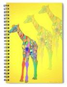 Giraffe X 3 - Yellow Spiral Notebook