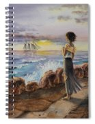 Girl And The Ocean Sailing Ship Spiral Notebook