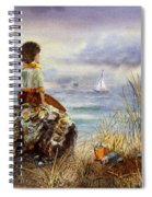Girl And The Ocean Sitting On The Rock Spiral Notebook