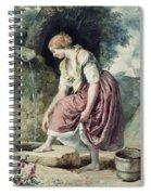 Girl At A Conduit Spiral Notebook