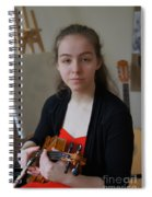 Girl In Red And Black With A Violin Spiral Notebook