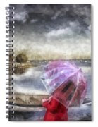 Girl In Red Coat Spiral Notebook