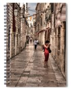 Girl In Red In The White Streets Of Dubrovnik Spiral Notebook