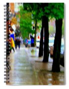 Girl In The Yellow Raincoat Rainy Stroll Through Streets Of The City Montreal Scenes Carole  Spiral Notebook