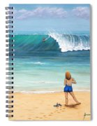 Girl On Surfer Beach Spiral Notebook