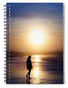 Girl On The Beach At Sunrise Spiral Notebook