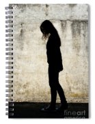 Girl Walking In Front Of Cement Wall Spiral Notebook