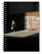 Girl Walking Into Shadow - New York City Street Scene Spiral Notebook