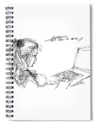 Girl With Laptop  Spiral Notebook
