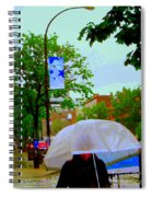 Girl With Large Umbrella Its Raining Its Pouring April Showers Montreal Scenes Carole Spandau Art Spiral Notebook