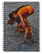 Girl With Two Dogs Spiral Notebook