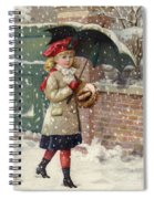 Girl With Umbrella In A Snow Shower Spiral Notebook