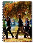 Girls Jogging On An Autumn Day Spiral Notebook
