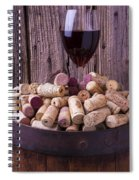 Glass Of Wine With Corks Spiral Notebook