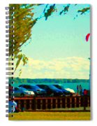Go Fly A Kite Off A Short Pier Lachine Lighthouse Summer Scene Carole Spandau Montreal Art  Spiral Notebook