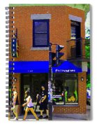 Going Places La Baguette Doree French Pastry Shop Busy Quebec Mont Royal City Scene Carole Spandau Spiral Notebook