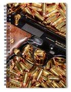 Gold 9mm Beretta With Brass Ammo Spiral Notebook