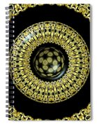 Gold And Black Stained Glass Kaleidoscope Under Glass Spiral Notebook