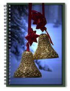 Golden Bells Green Greeting Card Spiral Notebook
