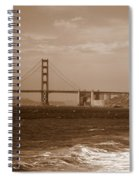 Golden Gate Bridge With Surf Sepia Spiral Notebook