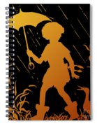 Golden Silhouette Of Child And Geese Walking In The Rain Spiral Notebook