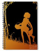 Golden Silhouette Of Child With Basket Walking In The Woods Spiral Notebook