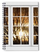 Golden Sun Silhouetted Tree Branches White Window View Spiral Notebook