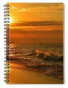 Golden Sunrise Colors With Waves And Horizon Clouds On Navarre Beach Spiral Notebook