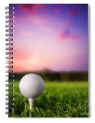 Golf Ball On Tee At Sunset Spiral Notebook