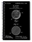 Golf Ball Patent 1906 - Black Spiral Notebook