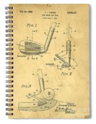Golf Sand Wedge Patent On Aged Paper Spiral Notebook