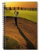Golfer Taking A Swing From A Golf Bunker Spiral Notebook