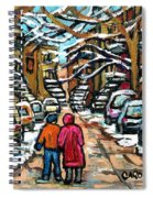 Good Day In January For Winter Stroll Snowy Trees And Cars Verdun Street Scene Painting Montreal Art Spiral Notebook