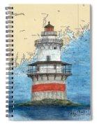 Goose Rocks Lighthouse Me Nautical Chart Peek Art Spiral Notebook