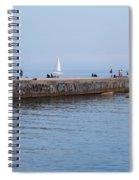 Graffiti Fishing Wall Barcelona Spain Spiral Notebook