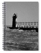 Grand Haven Light In Black And White Spiral Notebook