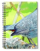 Gray Catbird Digital Art Spiral Notebook