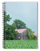 Gray Sky - Red Roofed Barn - Green Fields Spiral Notebook