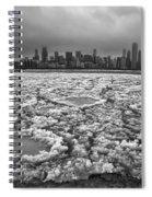 Gray Winter Chicago Skyline Spiral Notebook