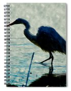Great Blue Heron Fishing In The Low Lake Waters Spiral Notebook