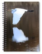 Great Egret Over The Pond Spiral Notebook
