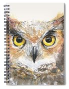 Great Horned Owl Watercolor Spiral Notebook