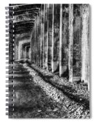 Great Northern Railroad Snow Shed - Black And White Spiral Notebook