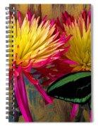 Green Butterfly On Fire Mums Spiral Notebook
