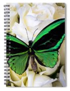 Green Butterfly On White Roses Spiral Notebook