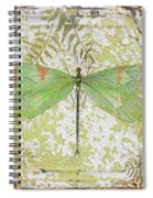 Green Dragonfly On Vintage Tin Spiral Notebook