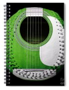 Green Guitar Baseball White Laces Square Spiral Notebook